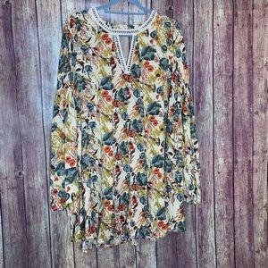 NWT Umgee Cream Floral Boho Tunic Mini Dress